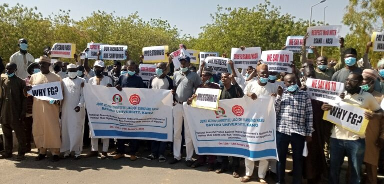 BUK non-teaching staff in protest over non-payment of earned allowances, IPPPS, others