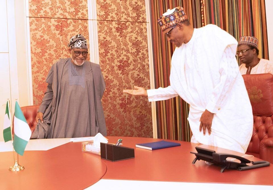 FILE: President Muhammadu Buhari (right) with Ondo State governor, Rotimi Akeredolu, at the Presidential VIlla.