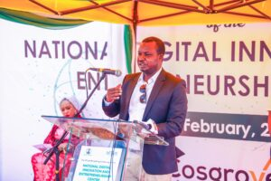 The Chief Executive Officer, Cosgrove Investment Limited, Mr. Umar Abdullahi discussing the highlight and timeline of the project, during the groundbreaking ceremony of the National Digital Innovation and Entrepreneurship Centre, in Abuja, on Thursday.
