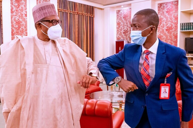 JUST IN: Buhari in closed-door meeting with new EFCC Chair