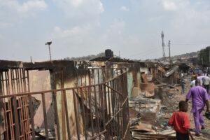Ruins of shops at Shasha Market, after clash between Hausas and Youruba traders in Ibadan on Sunday (14/2/21). 00586/14/2/2021/Timothy Adeogodiran/HB/NAN