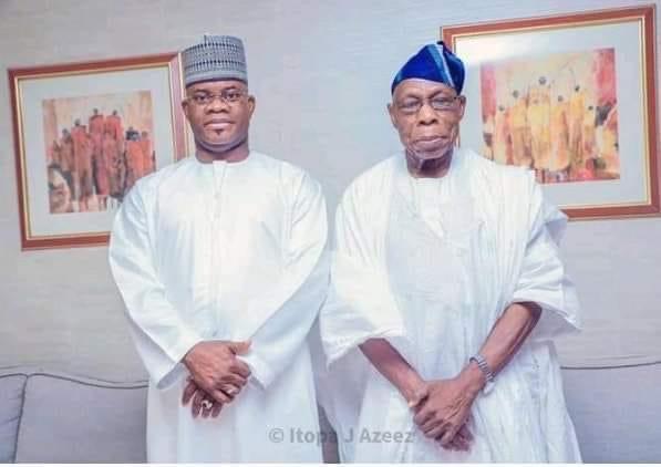Governor Yahaya Bello of Kogi State (left) with former President Olusegun Obasanjo