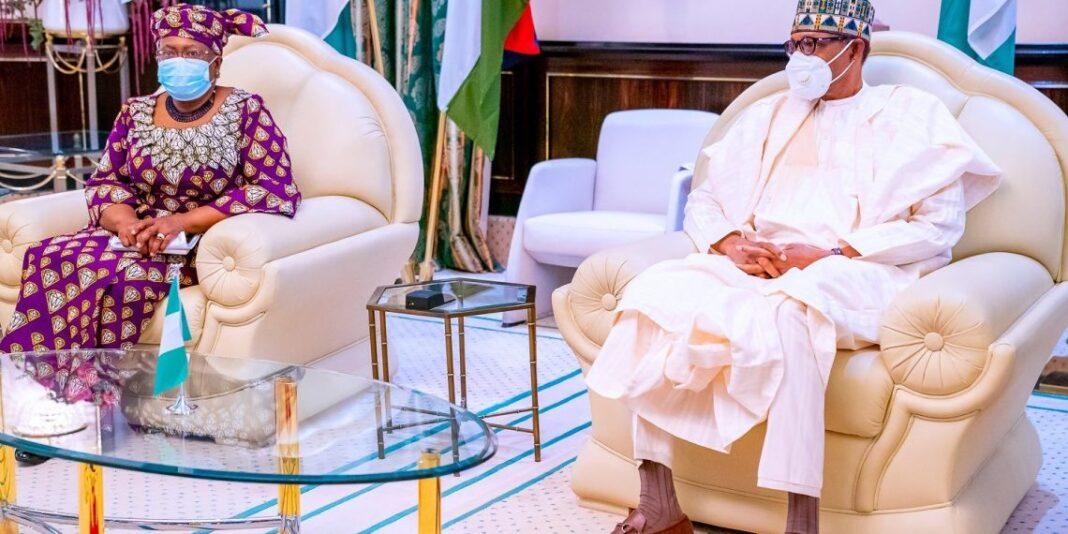 President Muhammadu Buhari with WTO DG Ngozi Okonjo-Iweala