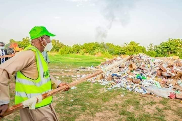 FILE PHOTO: Ganduje leads destruction of fake and counterfeit drugs in July 2020