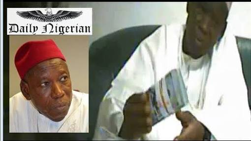 A screengrab from one of the videos showing Gov. Abdullahi Ganduje collecting bribe.
