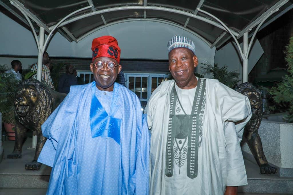 Asiwaju Bola Tinubu (left) and Governor Abdullahi Ganduje