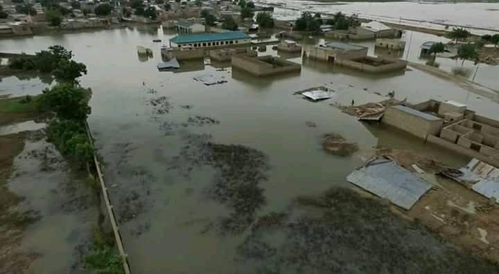 An aerial view of a part of Hadejia during 2020 flood