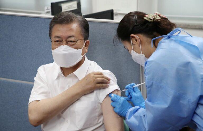 Moon gets AstraZeneca vaccine shot for G-7 summit