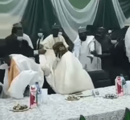A screengrab from a short video clip of Bola Tinubu losing a step at Arewa House Lecture on Saturday March 27 in Kaduna.