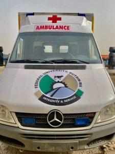 An ambulance vehicle Prof. Gwarzo donated to FUDMA recently.