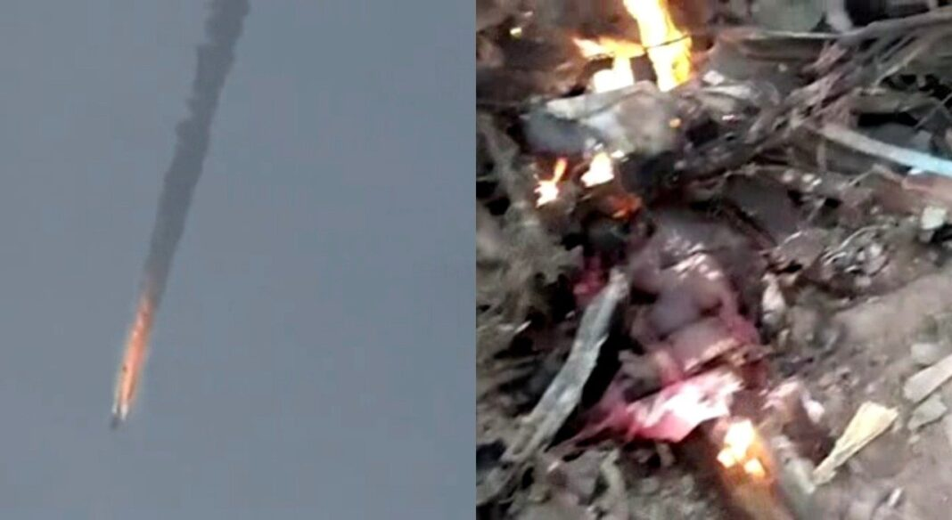 suspected remains of the NAF Alpha jet allegedly attacked by the Boko Haram insurgents