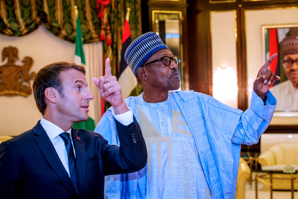 President Muhammadu Buhari with French President Emmanuel Macron