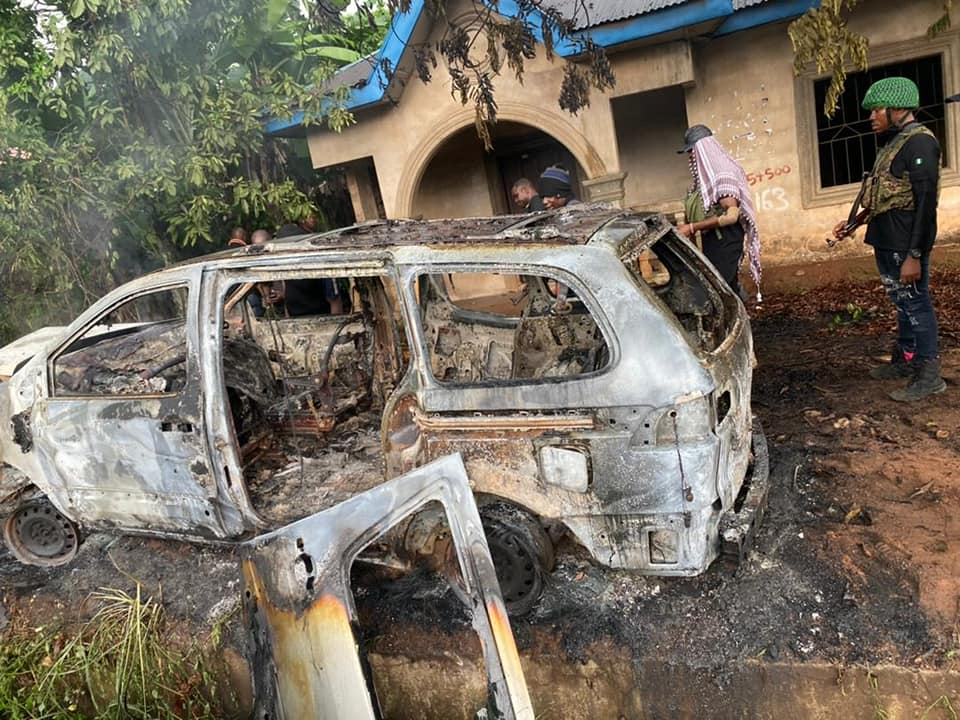 A runaway vehicle in which IPOB militants carried out the attack