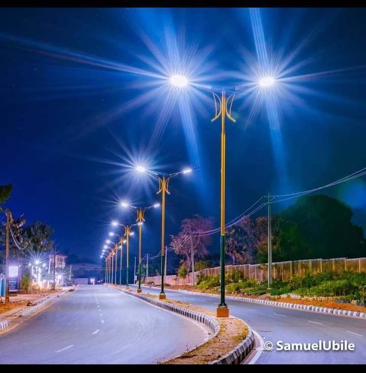 FILE PHOTO: A street in Kaduna at night.
