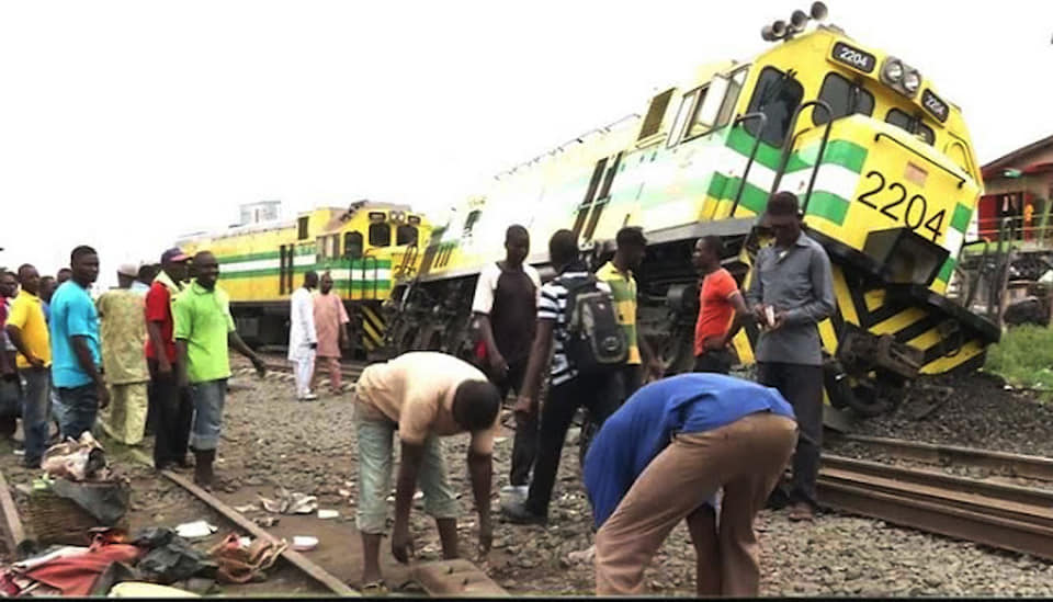 A train derailed in Kaduna recently. NRC attributed the incident to vandalism of rail tracks, sleepers and bolts and nuts.