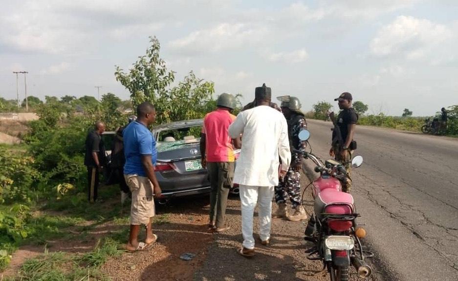 A Honda Accord recovered at Kurmin Kare area of Kaduna-Abuja road with shattered rear windshield