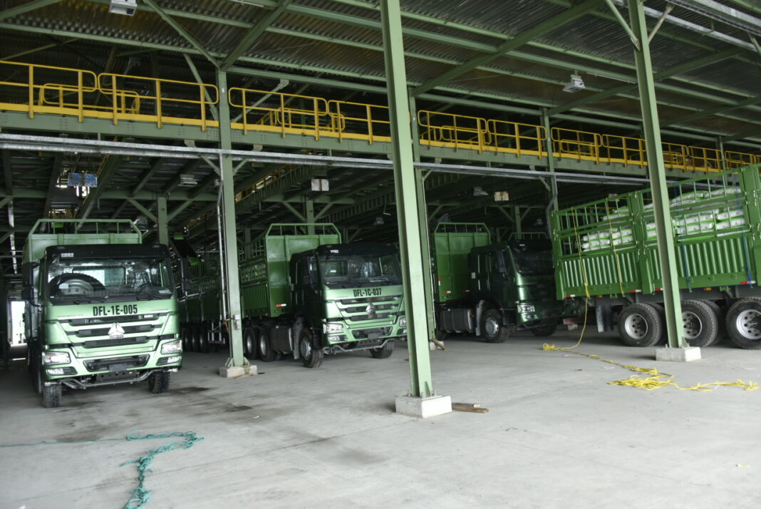 Some of Dangote Fertilizer Trucks Being Loaded with Products at the Loading Bay of the Plant, During the Dangote Fertilizer Plant Projects, Trucks Out of Dangote Fertilizer Products to Market, Lekki Lagos on Friday 11th June 2021