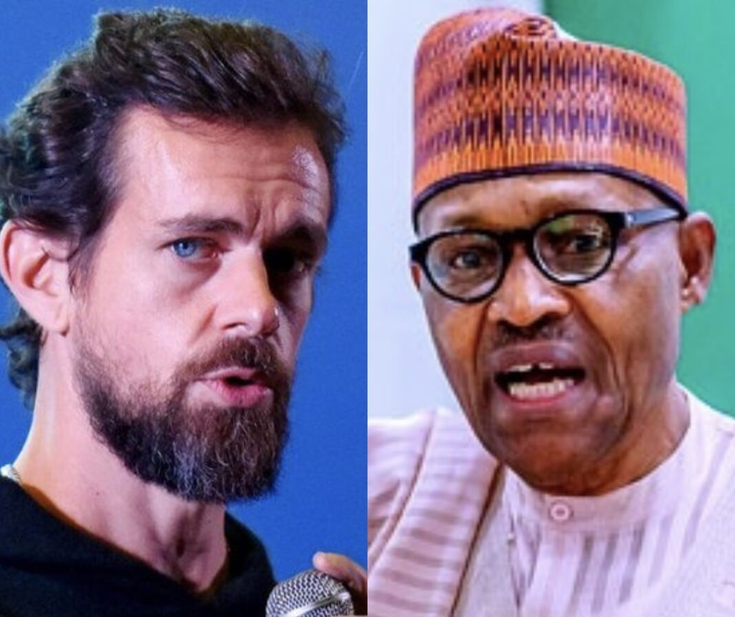Composite picture shows Twitter CEO Jack Dorsey (left) and President Muhammadu Buhari (right)