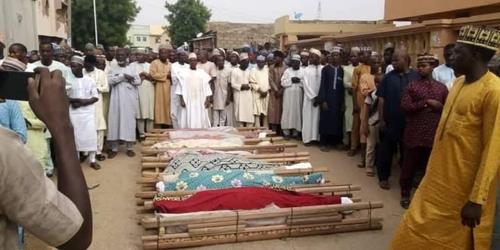 The funeral of the seven of the victims held on Sunday morning.
