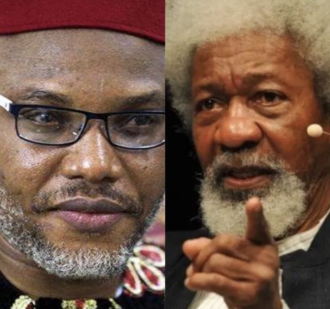 Composite picture shows Nnamdi Kanu with Wole Soyinka