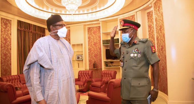 President Buhari Receives New Chief Of Army Staff Maj Gen Farouk Yahaya 1A-C. President Muhammadu Buhari receives new Chief of Army Staff Maj Gen Farouk Yahaya during an audience at the State House Abuja. PHOTO; SUNDAY AGHAEZE. JUNE 7TH 2021