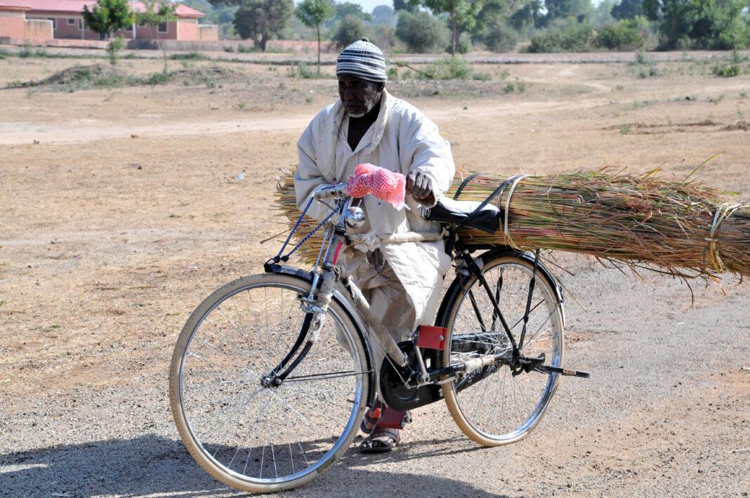 A man rolls his bicycle along the Birnin Kudu-Dutse road, south of Jigawa on the World Bicycle Day on Thursday. Photo credit: Jones Bamidele/NAN.