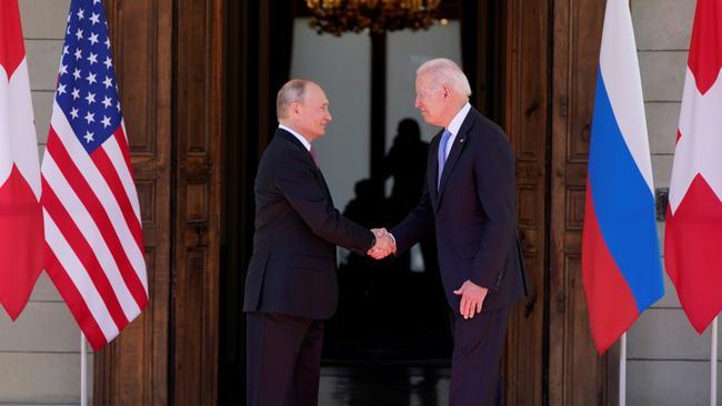 Putin, Biden meeting begins with handshake