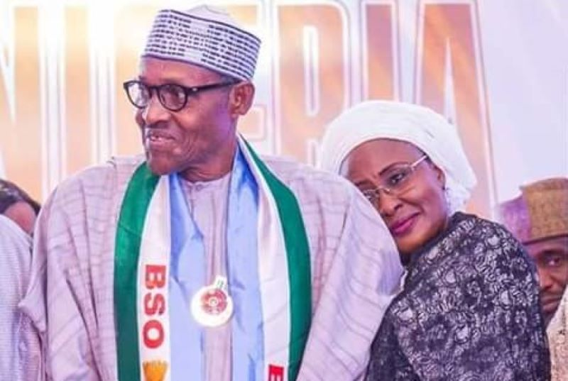 President Muhammadu Buhari with wife Aisha