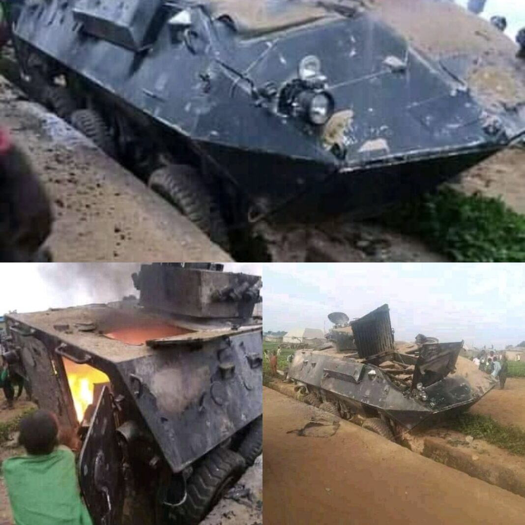 The Armoured Personnel Carrier burnt down by the bandits