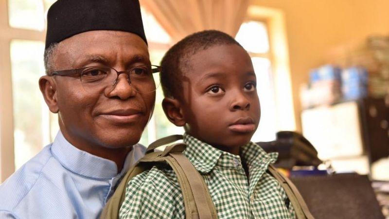 Governor Nasir El-Rufai with son Al-Sadiq.