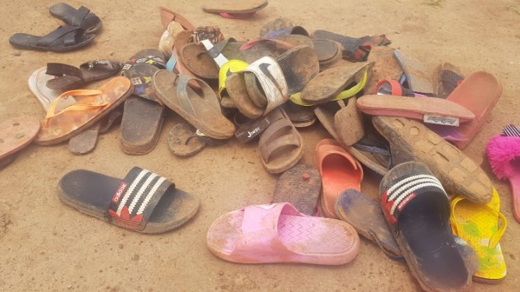 Footwear of abducted students of the Bethel Baptist School in Kaduna. Photo Credit AFP