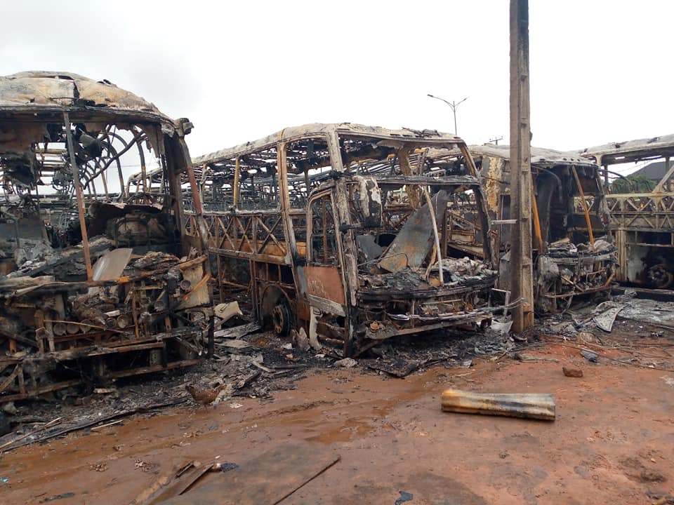 A cross section of some of the burnt busses.