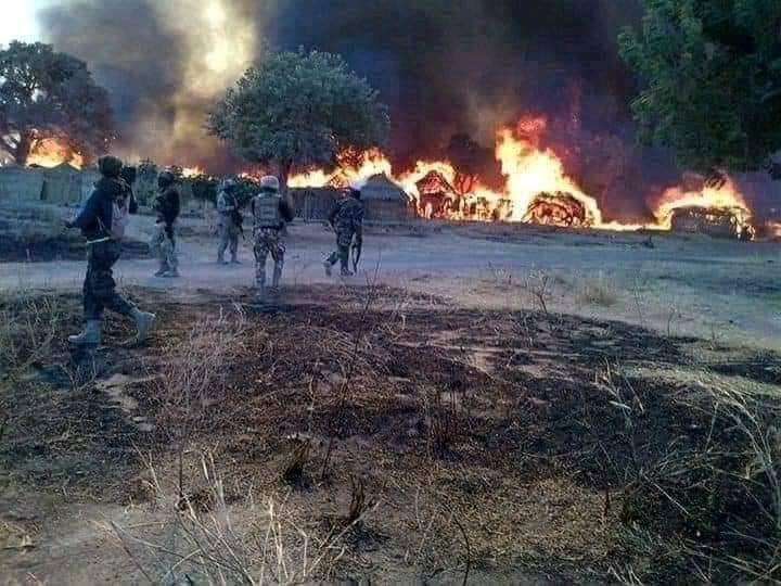 Bandits camps on fire due to aerial bombing and ground attacks.