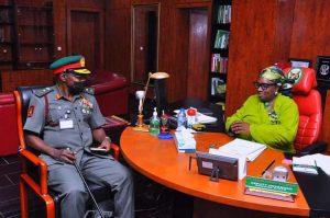Chief of Army Staff, Lt. Gen. Faruq Yahaya with the Acting Governor, Kaduna State, Dr Hadiza Balarabe