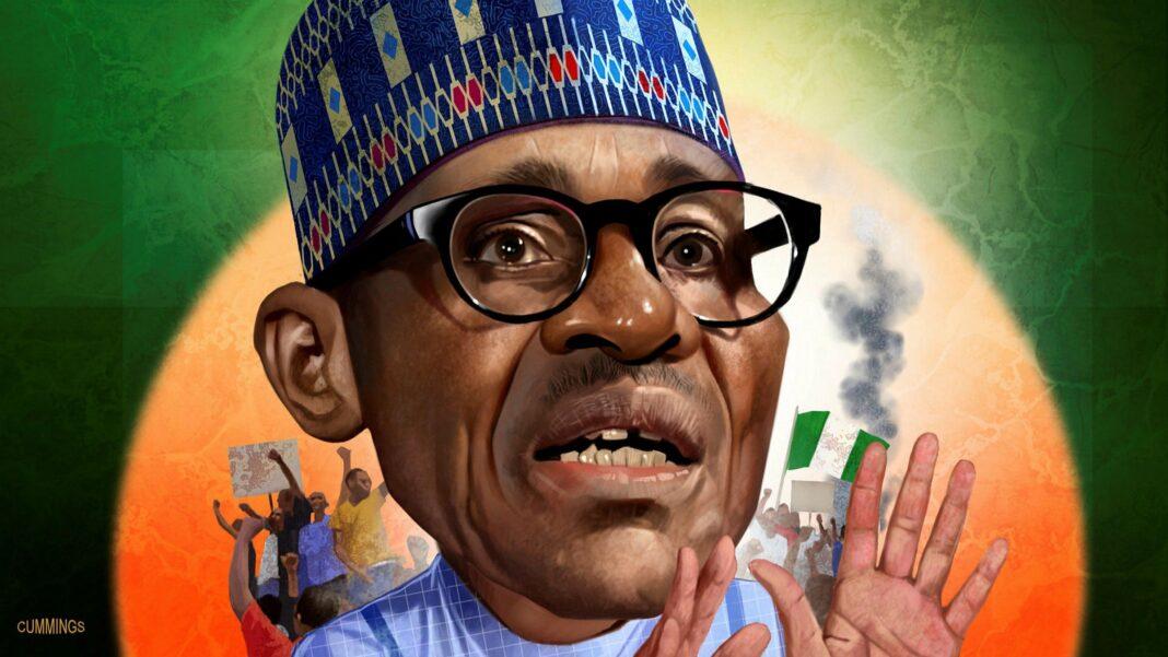 President Muhammadu Buhari. Illustrated by Joe Cummings via Financial Times