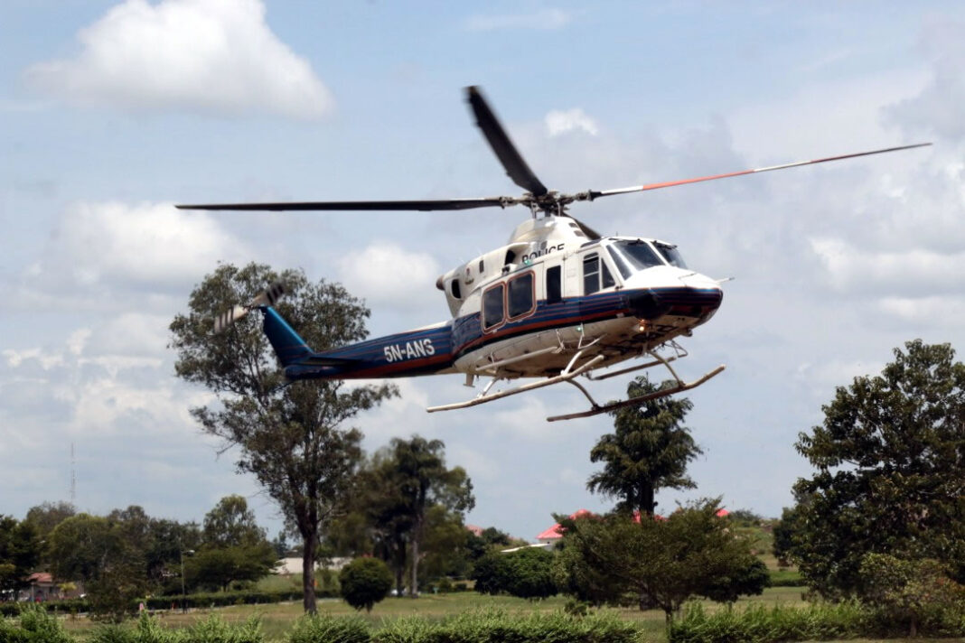 FILE PHOTO: A Nigeria Police Force helicopter