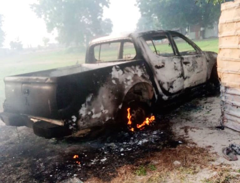 One of the military vehicles burnt down by terrorists on August 30, 2021 during ISWAP/Boko Haram attack on Rann, Borno State