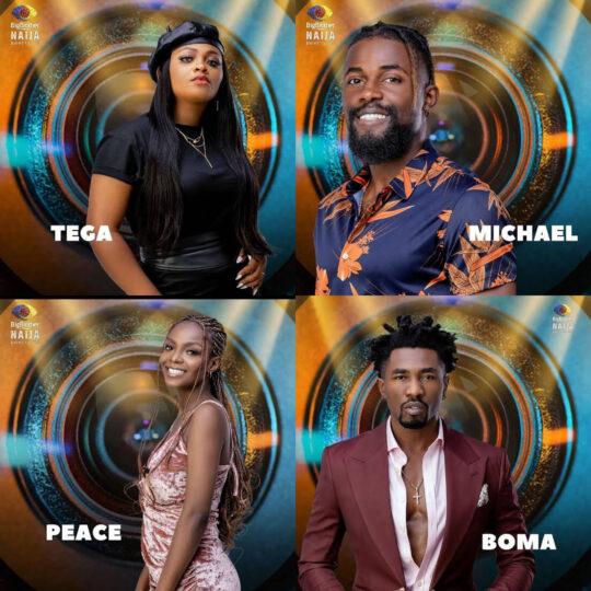 BBNaija: Tega, Peace, Michael, Boma evicted from show