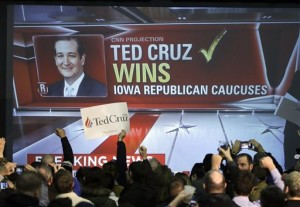 Supporters cheer as caucus returns are reported at Republican presidential candidate, Sen. Ted Cruz, R-Texas, caucus night rally, Monday, Feb. 1, 2016, in Des Moines, Iowa. (AP Photo/Chris Carlson)