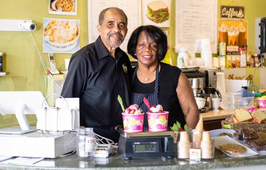 Larry+and+Jean+Murphy+at+YoFresh+Yogurt+Cafe.+The+couple+opened+YoFresh+over+five-and-a-half+years+ago+and+have+since+built+community+both+within+and+beyond+the+cafe.