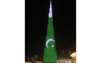پاکستان کو یوم آزادی کی مبارکباد ،برج خلیفہ سبز ہلالی پرچم کے رنگ میں رنگ گیا