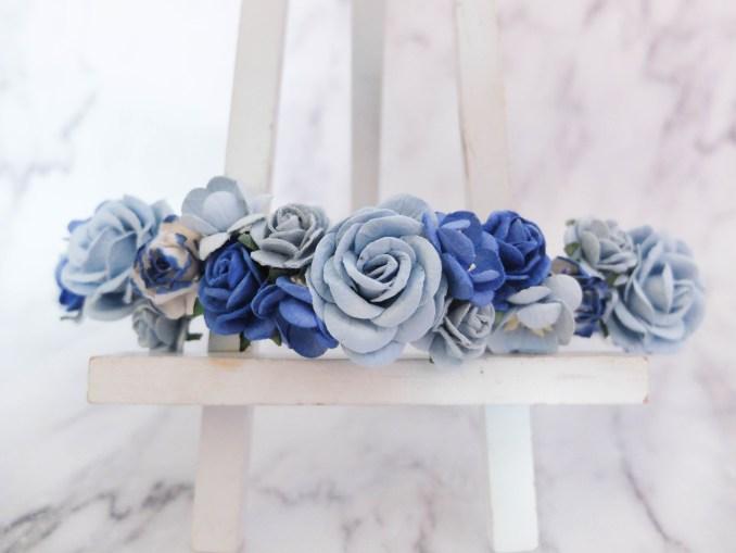 flower crown - royal blue & blue - wedding hair accessories