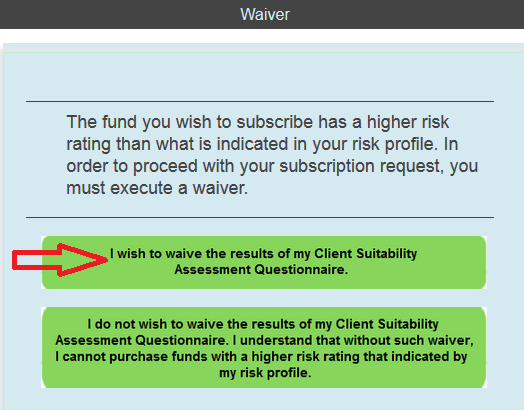mutual fund waiver