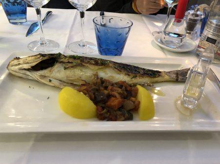 My huge sea bass at restaurant Albert 1er - Antibes Water meetup 22-28.02.2018