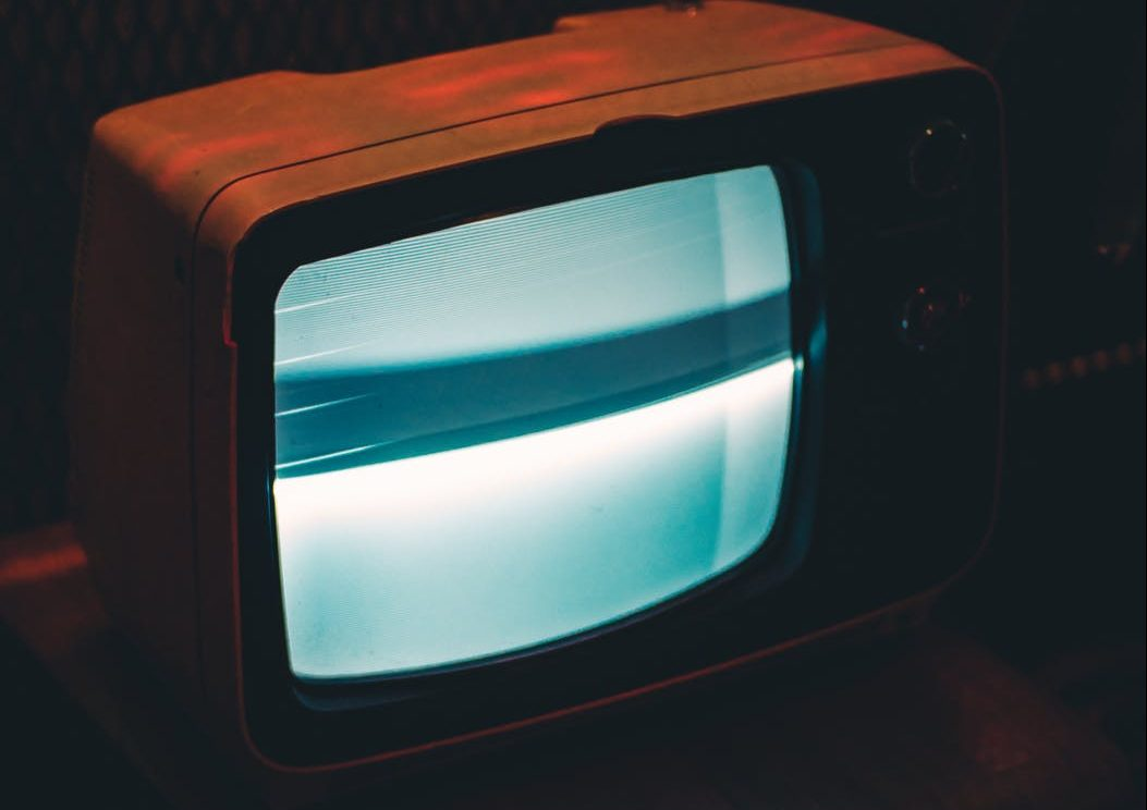 black crt tv showing gray screen