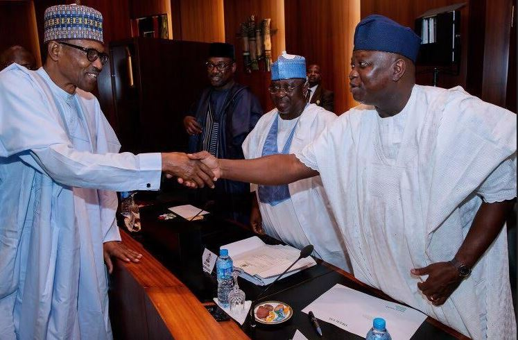 Image result for (Video) El-Rufai, Ortom, how are cattle rearers – Buhari jokes with governors