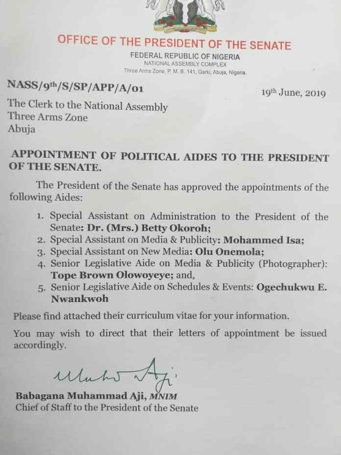 Image result for lawan appoints saraki aides