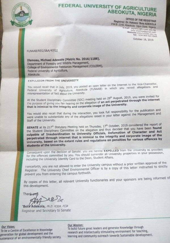 FUNAAB expels student for writing open letter to VC on Facebook FUNAAB expels student for writing open letter to VC on Facebook received 2454200251367726