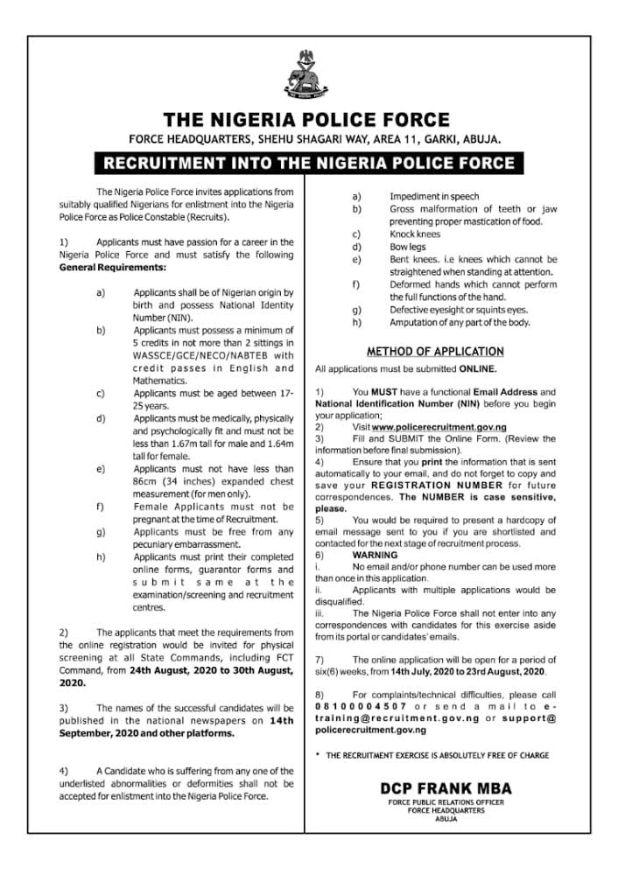 E3631B9F 11F1 4FDE 9A65 534D32F5C895 - Nigeria police begins recruitment of latest constables