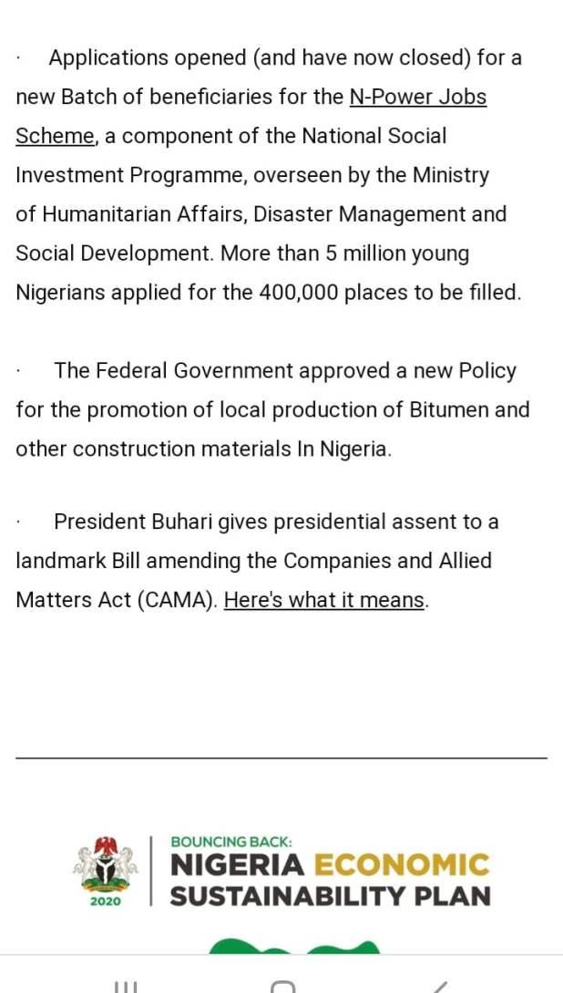 F2305EA6 4288 4EC2 9848 2993630ABB00 - Buhari lists CAMA, 774,00zero jobs, NYSC allowance, others as second-term achievements [Full list]